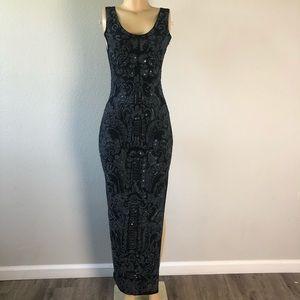 Attitudes by Debra hand beaded black maxi dress S